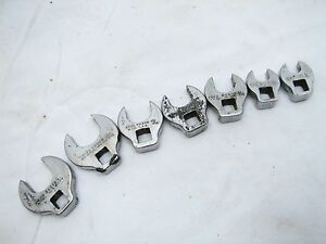 Set 7 Proto Sae Standard Crow Foot Wrenches Open End 3 8 Drive
