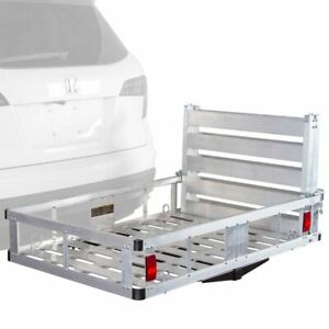 Apex Acc500 Dlx Deluxe Aluminum Basket Hitch Cargo Carrier With Ramp