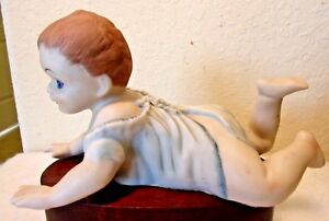 Large Vintage Bisque Porcelain Piano Baby Boy Crawling Figurine Marked 10 Long