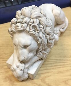 Antique Grand Tour Sleeping Chatsworth Lion Plaster Paperweight After Canova