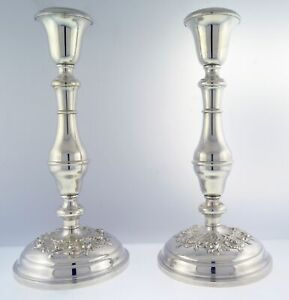 Pair Antique Gorham Pattern 987 Buttercup Sterling Silver Weighted Candlesticks
