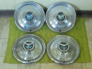 1964 Ford Spinner Hub Caps 14 Set Of 3 Wheel Covers 64 Hubcaps