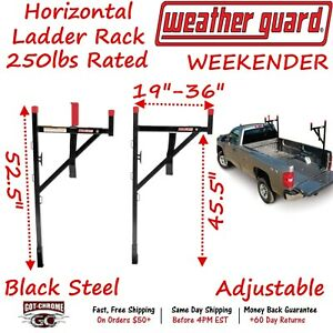 1450 Weather Guard Weekender Horizontal Truck Bed Side Mount Ladder Rack