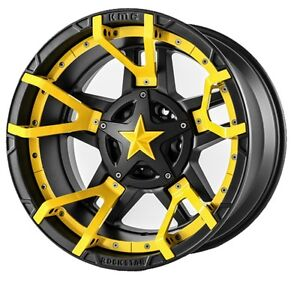 20 Inch Black Yellow Wheels Rims Lifted Dodge Ram 2500 3500 Truck Rockstar 20x12