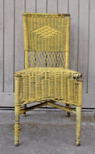 Antique Wicker Chair Wood Outdoor Side Yellow Wooden Free Ca Local Pick Up