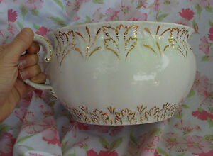 Victorian Era 1800s 1900s Antique Porcelain Gold Gilt Chamber Pot Ceramic Potty
