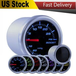 52mm 7 Color Turbo Boost Psi Gauge Kit W Smoked Lens