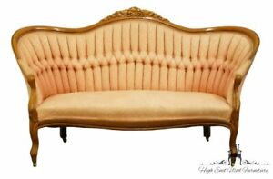 1920 S Victorian Antique Vintage Sofa Settee With Tufted Salmon Upholstery