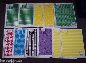 11 Asst Mead College Ruled One Subject Spiral Notebooks 70 Sheets Ea Notebook