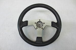 Momo Style Silver Made In Italy With Black Leather Racing Steering Wheel W Hub