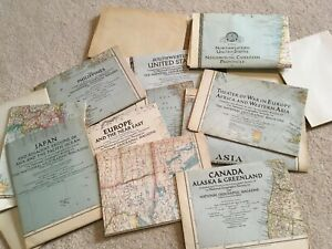 Vtg Lot Of 16 National Geographic Society Maps Historical 30s 40s Usa World