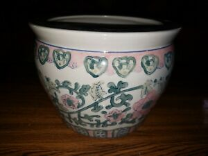 Vtg Chinese Hand Painted Porcelain Bowl Pot Planter Jardineire 7 5 H X 9 75 D