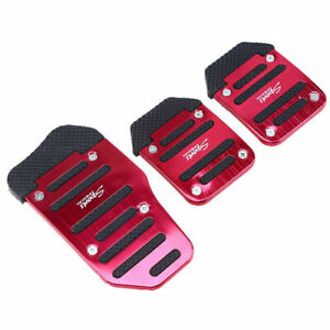 Red 3 Pcs Non Slip Performance Foot Pedals Pads Covers Aluminium For Manual Car