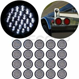 20pcs 4 White Round 24 Led Trailer Truck Side Marker Clearance Lights Tail Lamp