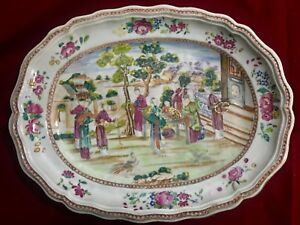 Chinese Large Export Porcelain Meat Plate In Famille Rose Qianlong Period