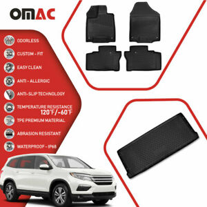Floor Mats Cargo Trunk Liner 3d Molded Fit Black Set For Honda Pilot 2016 2018