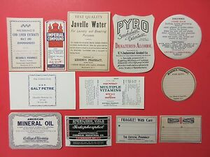 12 Old Pharmacy Drugstore Apothecary Medicine Bottle Old Label Lot Vintage