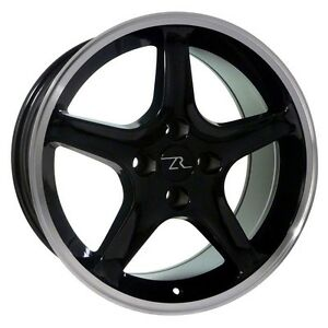 17 Gloss Black Ford Mustang Cobra R Replica Wheels Set 17x9 4x108 18mm 87 93