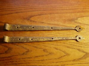 Pair Of Antique Hand Forged Barn Door Strap Hinges 11 3 8 Inches