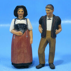 5 Antique Swiss Black Forest Wood Carved Cowherder Wife National Costume Brienz