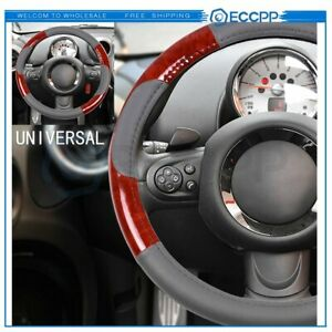 New Grey Brown Wood Grain Pvc Leather 15inch 38cm Auto Steering Wheel Cover