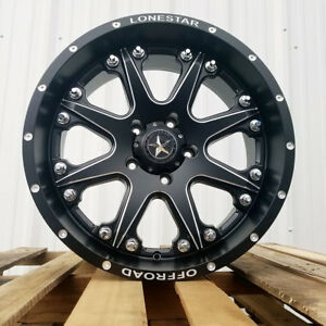 20 Matte Black Lonestar Bandit Wheels Dodge Ram 1500 Truck 20x9 5x139 7 0mm