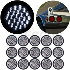 15pcs 4 White Round 24 Led Trailer Truck Side Marker Clearance Lights Tail Lamp