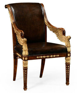 Carved Gilded French Empire Leather Lounge Office Desk Chair 1 Of 2 Mint