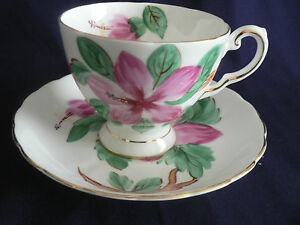 Tuscan Bone China Pink Flower Yellow Beaded Footed Tea Cup And Saucer