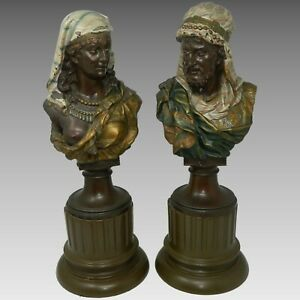 Antique Pair Of Orientalist Busts By J Boese Bronzed Spelter Germany