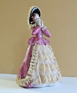Beautiful Vintage Porcelain Lace Figurine With Pink Splatter Dress
