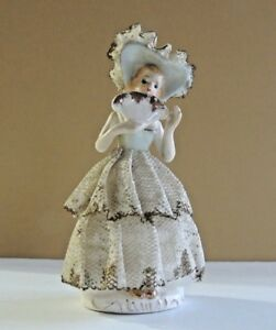 Beautiful Vintage Porcelain Lace Figurine With Lovely Blue Dress