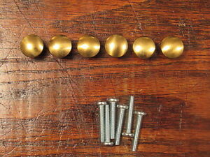 6 Solid Brass Drawer Pulls Knobs New Old Stock