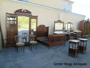 35457 Antique French Bedroom Set Wardrobe Dresser Vanity 2 Nightstands