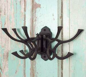Deep Brown Coat Hook Hinged Vintage Style Cast Iron Wall Mount Farmhouse Rustic