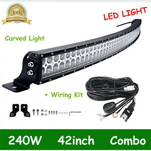 42inch 240w Curved Led Light Bar Offroad Combo Fog Driving Truck Atv Wiring Kit