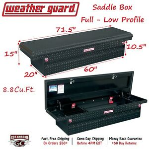 121 5 01 Weather Guard Black Aluminum Saddle Box 71 Low Profile Truck Toolbox