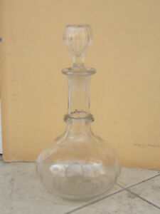 Antique Victorian Cut Glass Crystal Decanter Carafe Whisky Wine 19c