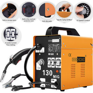 Vivohome Mig 130 Welder Flux Core Wire Automatic Feed Welding Machine W Mask