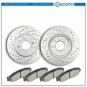 Front Discs Brake Rotors And Ceramic Pads For Acura El 1997 2005 Drill Slot