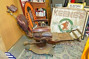 Antique Rare Dental Chair Cast Iron See My Other Vintage Porcelain Neon Sign Old