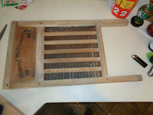 Vintage Washboard Wood Ribbed Metal No 824 National Washboard Co The Silver King