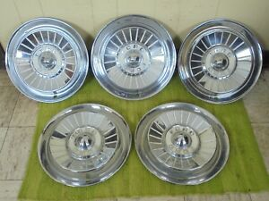1957 Ford Hub Caps 14 Set Of 5 Wheel Covers Hubcaps 1957