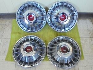 70 71 72 73 Ford Mercury Finned Hub Caps 14 Set Of 4 Turbine Wheel Covers