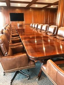 Leighton Hall Large Custom Mahogany Banquet Dining Conference Table 24 Ft
