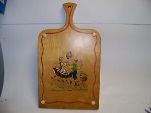 Vintage Wooden Bread Cutting Board Wall Hanging Painted Motif Primitive Pacak