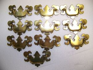Lot Of 10 Solid Brass Keeler Drawer Drop Bail Pull Handle New Old Stock 3 3 4