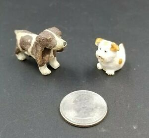 2 Vtg Miniature Hand Carved Wood Dogs Terrier Brown Cocker Spaniel Scotland 19