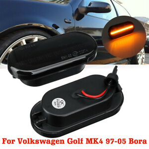 1 Pair 12v Led Side Marker Light Turn E9 Smoked Lens For Vw Golf Mk4 97 05 Bora