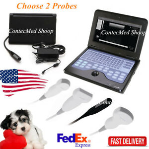 Notebook Veterinary B ultrasound Diagnostic System big small Animal Use 2 Probes